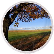 Round Beach Towel featuring the photograph Autumn Landscape by Joseph Skompski