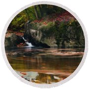 Autumn Leaf Trails Round Beach Towel