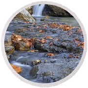 Autumn Leaves At Little Missouri Falls - Arkansas - Waterfall Round Beach Towel