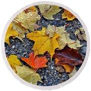 Autumn Leaves In Rain Round Beach Towel