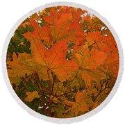 Autumn Leaves Round Beach Towel by Kathy Bassett