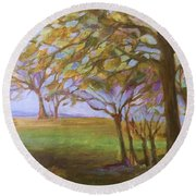 Round Beach Towel featuring the painting Autumn Leaves by Mary Wolf