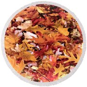 Autumn Leaves On The Ground In New Hampshire In Muted Colors Round Beach Towel