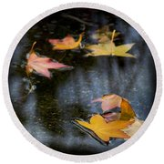 Autumn Leaves On Water Round Beach Towel