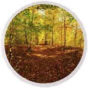 Autumn Leaves Pathway  Round Beach Towel