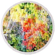Autumn Leaves Reflected In Pond Surface Round Beach Towel