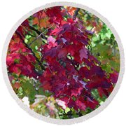Autumn Leaves Reflections Round Beach Towel by Gary Smith