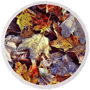 Autumn Leaves With Frost Round Beach Towel
