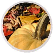 Autumn Leaves With Pumpkin Round Beach Towel
