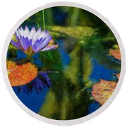 Autumn Lily Pad Impressions Round Beach Towel
