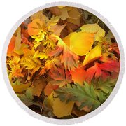 Autumn Masquerade Round Beach Towel