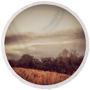 Autumn Meadow Round Beach Towel