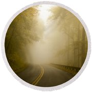 Autumn Mist Blue Ridge Parkway Round Beach Towel