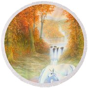 Autumn Morning Round Beach Towel by Andrew Farley