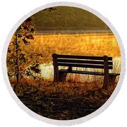 Autumn Morning At The Lake Round Beach Towel