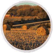 Autumn Morning Bales Round Beach Towel