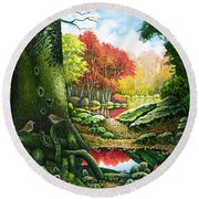 Autumn Morning In The Forest Round Beach Towel