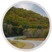 Autumn Motorcycle Rider / Orange Round Beach Towel