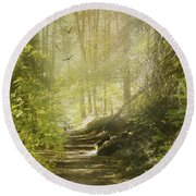 Autumn Myst Round Beach Towel by Diane Schuster