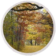 Autumn Nature Trail Round Beach Towel