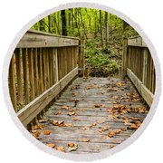 Autumn On The Bridge Round Beach Towel