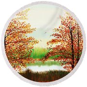 Autumn On The Ema River Estonia Round Beach Towel