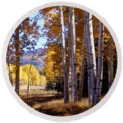 Autumn Paint Chama New Mexico Round Beach Towel by Kurt Van Wagner