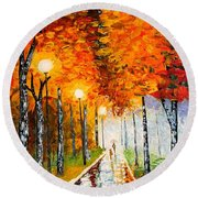 Autumn Park Night Lights Palette Knife Round Beach Towel