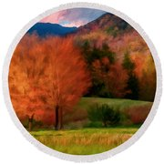Autumn Pasture Round Beach Towel