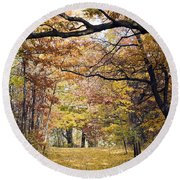 Autumn Pedestrian Path Round Beach Towel