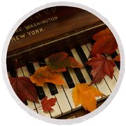 Autumn Piano 14 Round Beach Towel