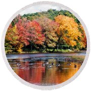 Round Beach Towel featuring the photograph Autumn Pond by William Selander