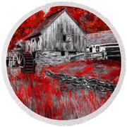 Autumn Promise- Red And Gray Art Round Beach Towel by Lourry Legarde
