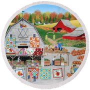 Autumn Quilts Round Beach Towel