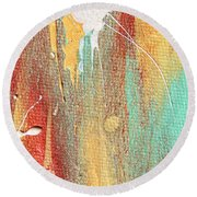 Autumn Rain Abstract Painting Round Beach Towel