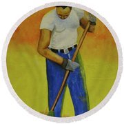 Round Beach Towel featuring the painting Autumn Raking by Thomas J Herring