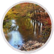 Autumn Reflection Round Beach Towel by Dora Sofia Caputo Photographic Art and Design