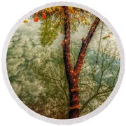 Round Beach Towel featuring the photograph Autumn Reflection  by Peggy Franz
