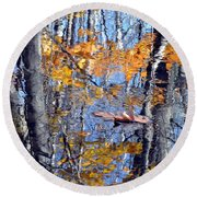 Autumn Reflection With Leaf Round Beach Towel