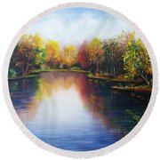 Round Beach Towel featuring the painting Autumn Reflections  by Vesna Martinjak