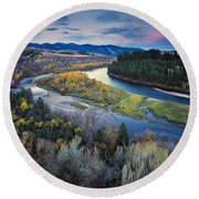 Autumn River Round Beach Towel