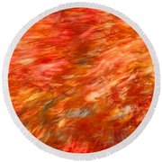 Autumn River Of Flame Round Beach Towel by Jeff Folger