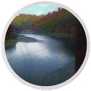 Autumn River Valley  Round Beach Towel
