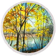 Autumn River Walk Round Beach Towel