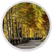 Winding Road Through The Autumn Trees Round Beach Towel