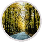 Autumn Road Round Beach Towel