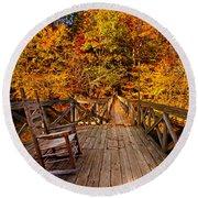 Autumn Rocking On Wooden Bridge Landscape Print Round Beach Towel by Jerry Cowart