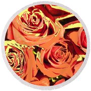 Round Beach Towel featuring the photograph Autumn Roses On Your Wall by Joseph Baril