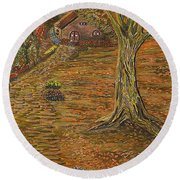 Autumn Sequence Round Beach Towel by Felicia Tica