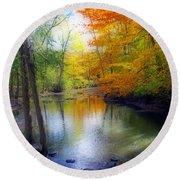 Autumn Serenity  Round Beach Towel by Kay Novy